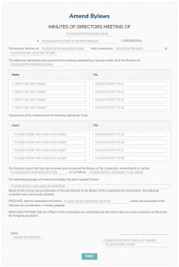 Amend Bylaws template